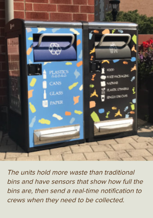 Bigbelly at Lehigh - The units hold more waste than traditional bins and have sensors that show how full the bins are, then send a real-time notification to crews when they need to be collected.
