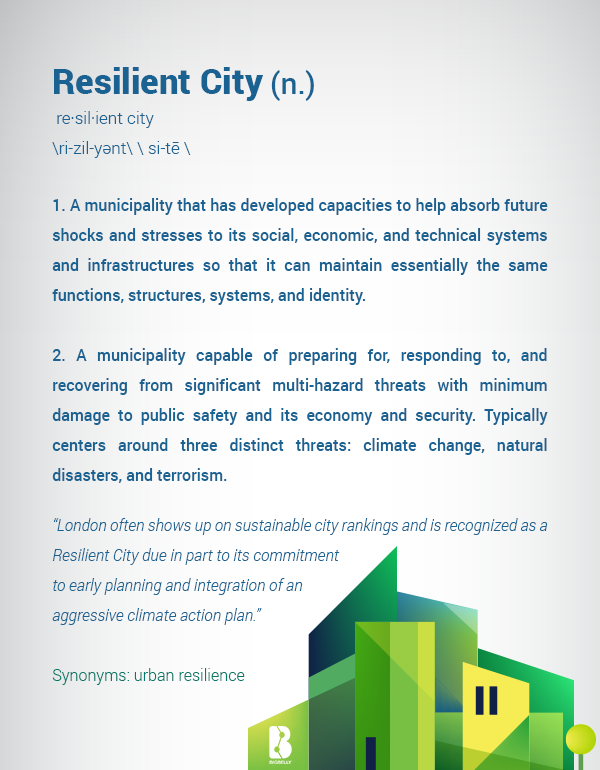 """Resilient City - 1. A municipality that has developed capacities to help absorb future shocks and stresses to its social, economic, and technical systems and infrastructures so that it can maintain essentially the same functions, structures, systems, and identity.  2. A municipality capable of preparing for, responding to, and recovering from significant multi-hazard threats with minimum damage to public safety and its economy and security. Typically centers around three distinct threats: climate change, natural disasters, and terrorism. """"London often shows up on sustainable city rankings and is recognized as a Resilient City due in part to its commitment  to early planning and integration of an  aggressive climate action plan.""""  Synonyms: urban resilience"""